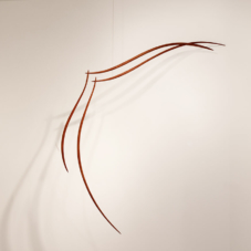 Up to the Left, Suspended | mahogany wood | 63 x 50 x 2 inches