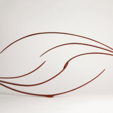 Two Sets of Three | carbon fiber composite, hardwood, red automotive paint | 21 x 47 x 2 inches