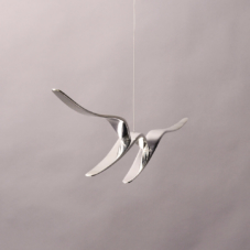 Three Pieces Out and Up Suspended | composite materials, chrome | 18 x 30 x 2 inches