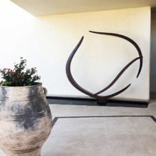 Reaching Together, Up and Left | Corten steel | 103 x 108 x 8 inches