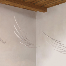 Suspended Murmuration in Three Parts | Maple wood, white stain | 30 x 51 x 15 inches